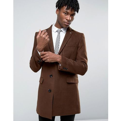 Penguin formal tobacco melton overcoat - brown marki Original penguin