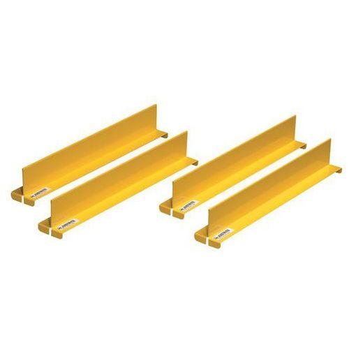 Justrite Przegroda półek, kolor żółty, opak. 4 szt., do głęb. 457 mm. wprowadza porządek