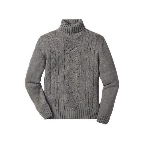 Bonprix Sweter z golfem szary melanż