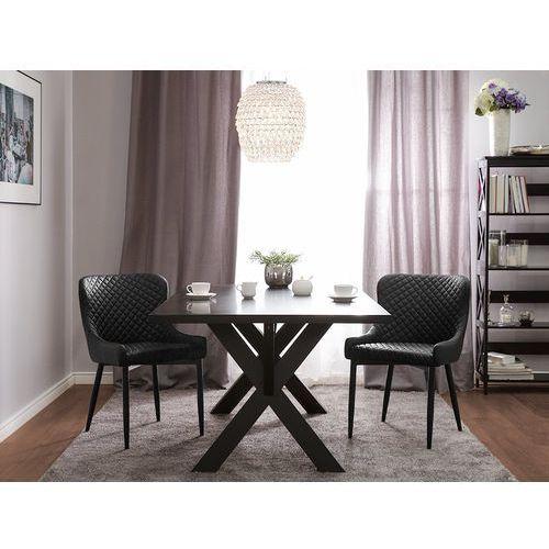 Zestaw do jadalni 2 krzesła czarne skóra ekologiczna solano marki Beliani