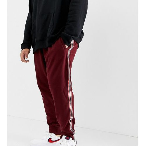 Burton menswear big & tall taped joggers in burgundy - red