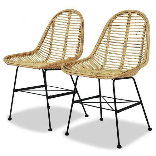 Krzesła do jadalni, 2 szt., naturalny rattan