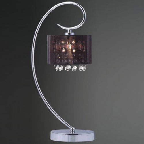 Dekoracyjna LAMPA stołowa SPAN MTM1583/1 Italux abażurowa LAMPKA nocna kryształki glamour organza mgiełka chrom czarny (5900644343035)