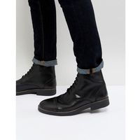 Frank Wright Military Lace Up Boots In Hi Shine Black - Black, kolor czarny