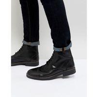 military lace up boots in hi shine black - black marki Frank wright