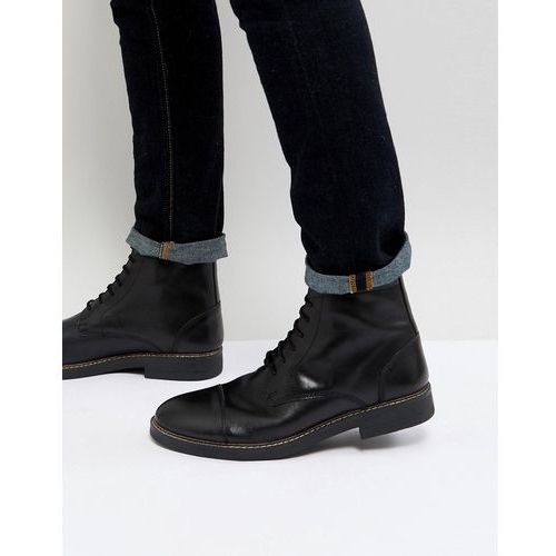 military lace up boots in hi shine black - black, Frank wright