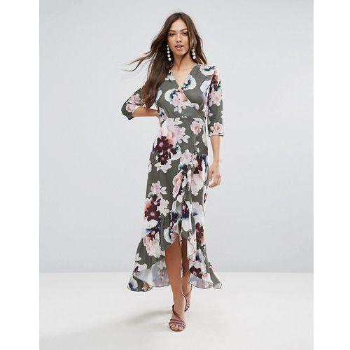 QED London Wrap Floral Maxi Dress With Ruffle - Green