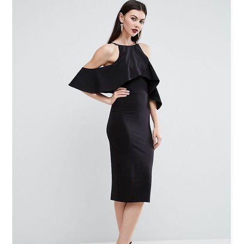 ASOS TALL High Neck Cold Shoulder Midi Dress - Black, kolor czarny