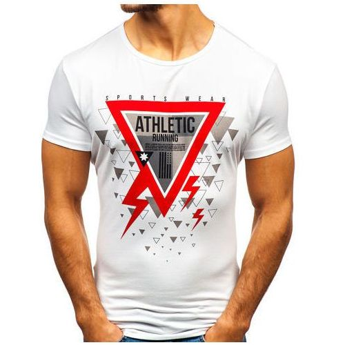 T-shirt męski z nadrukiem biały denley ky08 marki J.style