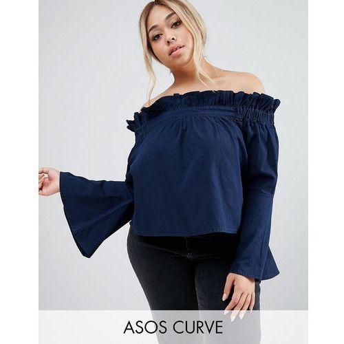 Asos curve  denim off shoulder top with flared sleeves in blue - blue