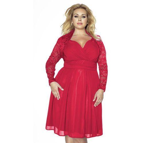 Koronkowe czerwone bolerko z długim rękawem plus size, Kartes moda, 48-52