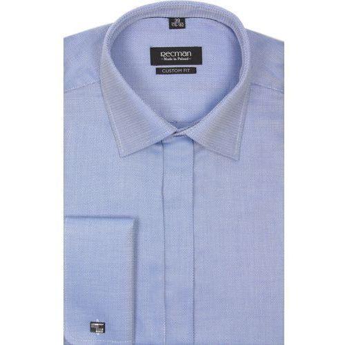 koszula versone 2291 na spinki custom fit niebieski, bawełna