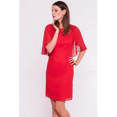 Czerwona sukienka z nakładaną górą - L'ame de Femme, kolor czerwony