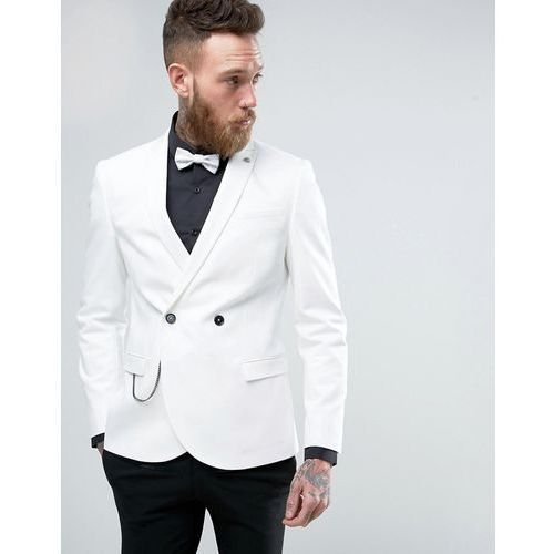 Noose & Monkey Double Breasted Superskinny Suit Jacket - White