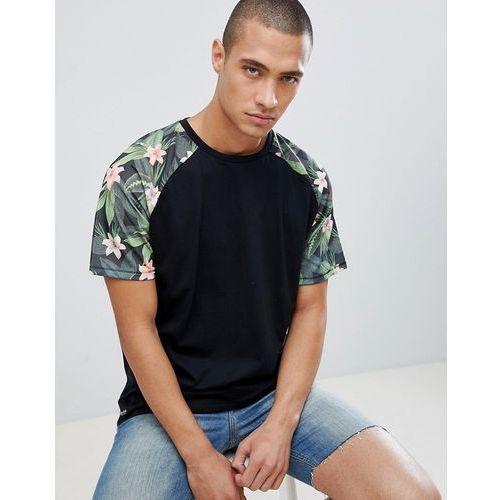 Threadbare floral contrast raglan sleeve t-shirt - black
