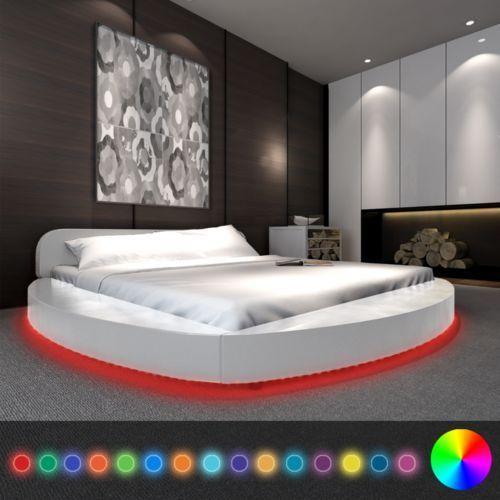 vidaXL Białe okrągłe łóżko,sztuczna skóra z taśmą LED 180 x 200 cm + materac