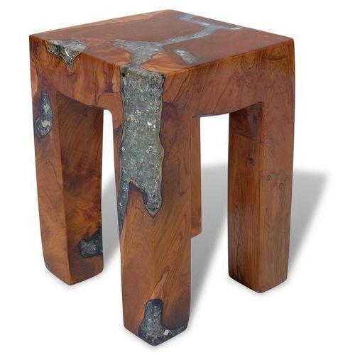 vidaXL Taboret na 4 nóżkach z drewna tekowego i żywicy 30x30x40 cm (8718475999041)