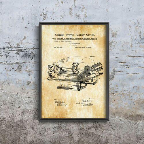 Plakat w stylu vintage Plakat w stylu vintage Gramophone Berliner Patent USA