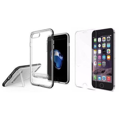 Zestaw | Spigen SGP Crystal Hybrid Black | Obudowa + Szkło ochronne Perfect Glass dla modelu Apple iPhone 7 Plus