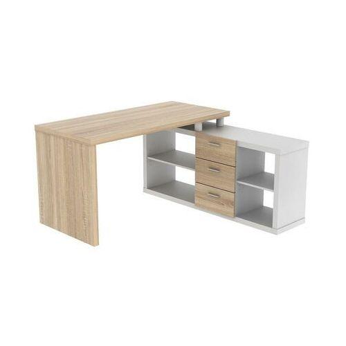 Biurko narożne z półkami ALDRIC III - Biel & Dąb