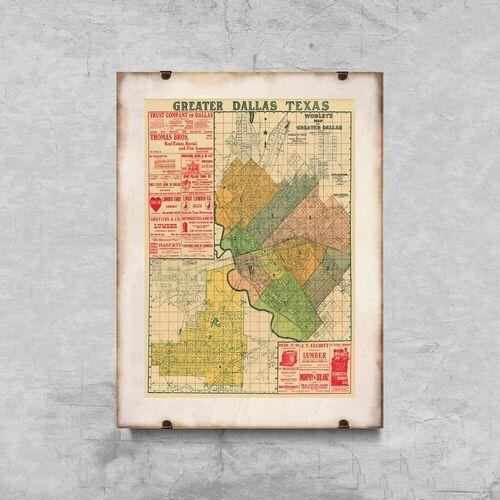 Vintageposteria.pl Plakat w stylu vintage plakat w stylu vintage stara mapa dallas w teksasie