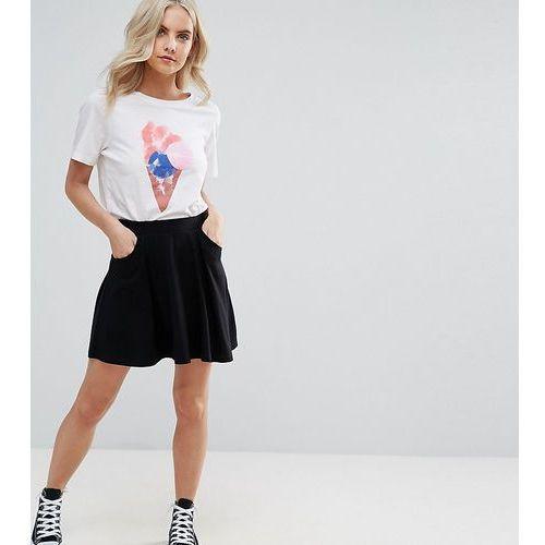 Asos petite  mini skater skirt with pockets - black