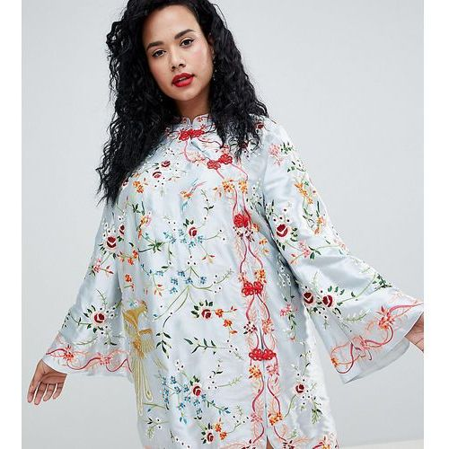 ASOS DESIGN Curve embroidered mini column dress with flared sleeve - Multi