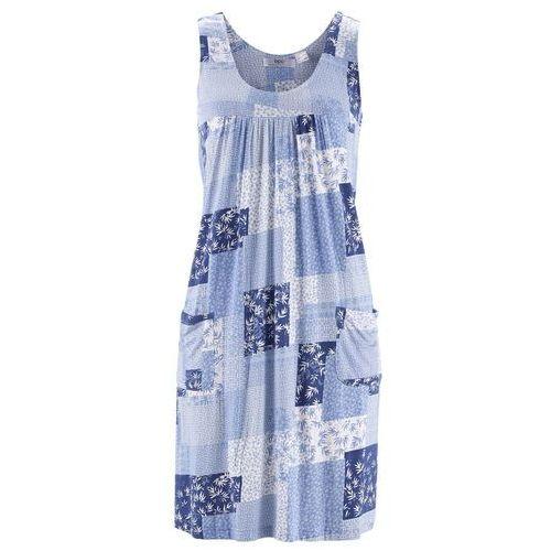 Sukienka ze stretchem perłowy niebieski z nadrukiem, Bonprix, 36-58
