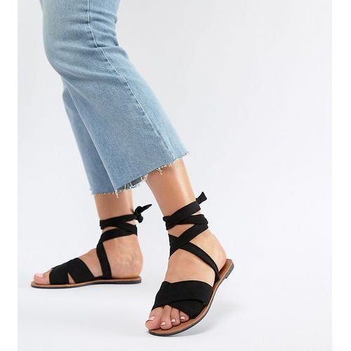 Park Lane Wide Fit Tie Leg Flat Sandals - Black, kolor czarny