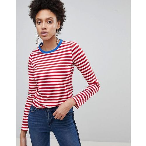 Stradivarius Contrast Neck Stripe Long Sleeve Tee - Red, kolor czerwony