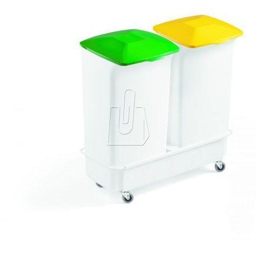 Durable Zestaw dwóch pojemników 40l + wózek durabin square zielony i żółty 1809816050 (7318089816058)