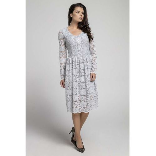 Nommo Szara wizytowa rozkloszowana sukienka z koronki