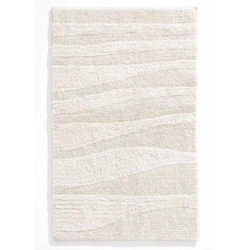 Dywaniki łazienkowe w strukturalny wzór w falowane pasy bonprix kremowy