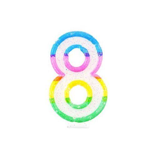 Tg Świeczka cyferka z brokatem - 8 - 7 cm