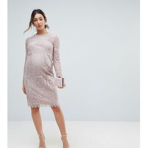 ASOS Maternity Lace Long Sleeve Midi Pencil Dress - Pink, kolor różowy
