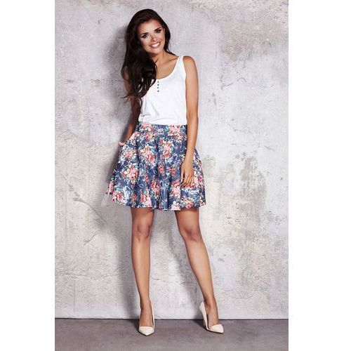 Rozkloszowana Kwiatowa Spódnica Mini, kolor niebieski