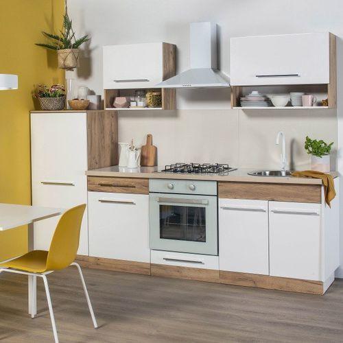 Gotowy zestaw mebli kuchennych Deftrans Double 2,6 m dąb złoty/biały, 064-Z-26001