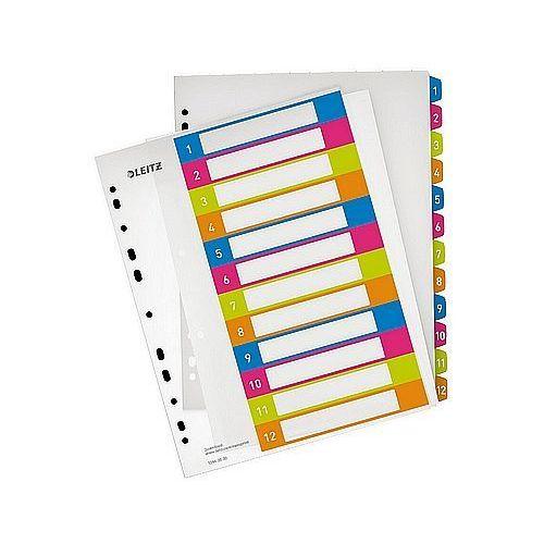 Przekładki plastikowe A4 do nadruku 1-12 Leitz WOW 12440000