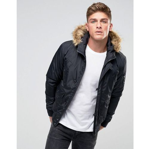 French Connection Short Padded Parka with Faux Fur Hood - Navy