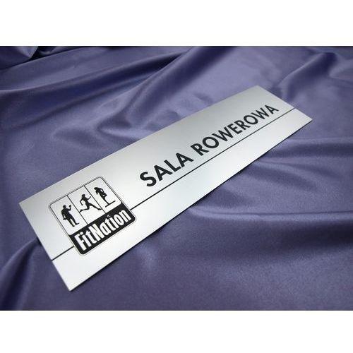 Grawernia.pl - grawerowanie i wycinanie laserem Szyldy z nazwami pomieszczeń i logotypem - 29x8cm - rogi prostokątne