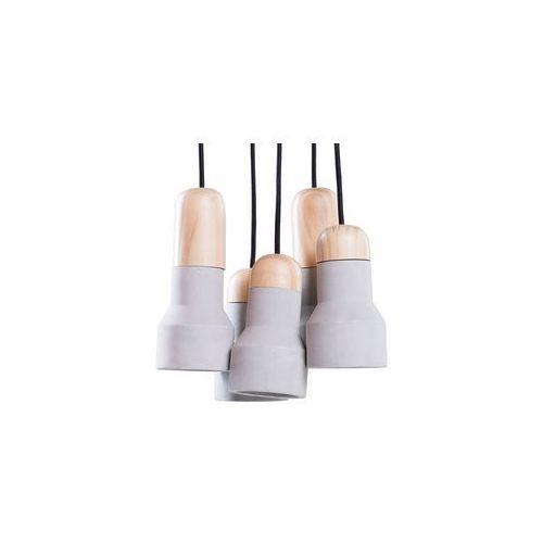 Lampa wisząca 5 kloszy betonowa szara APURE (4260580922536)