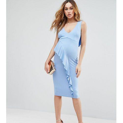 ASOS Maternity TALL Waterfall Ruffle Back Midi Bodycon Dress - Blue, kolor niebieski