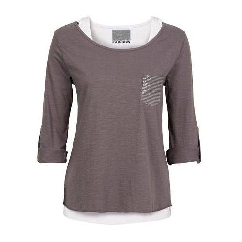Shirt z topem ciemnoszaro-biały, Bonprix, 56-58