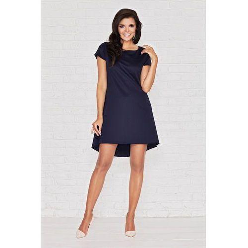 Niebieska Skromna Sukienka z Dłuższym Tyłem z Plisą, w 4 rozmiarach