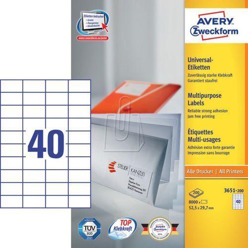 Etykiety uniwersalne Avery Zweckform trwałe 52,5 x 29,7mm 200 ark./op. 3651-200 (4004182249482)