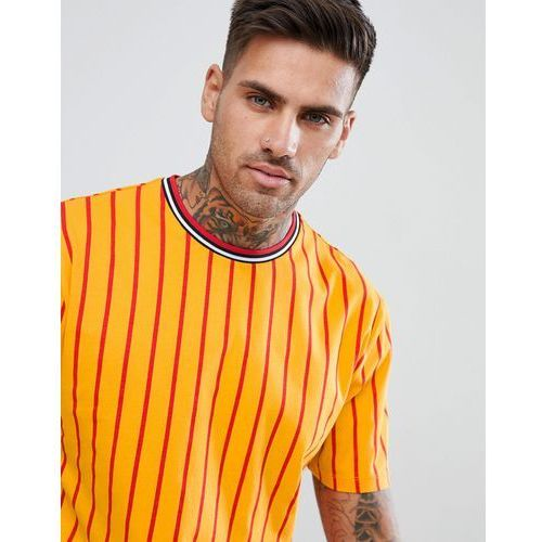 Asos design relaxed t-shirt with vertical stripe and tipped rib - yellow