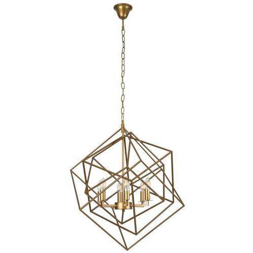 Maxlight Lampa wisząca andora p0328 geometryczna oprawa metalowy zwis świecznikowy mosiądz (5903351002981)