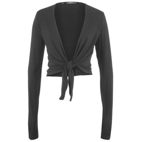Bolerko shirtowe wiązane, długi rękaw bonprix czarny, kolor czarny