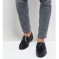 Silver street wide fit tassel loafers in black leather - black