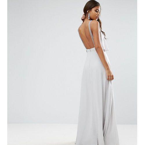 Asos tall  embellished strap back crop top maxi dress - grey